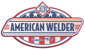 The American Welder logo, featuring red, white, and blue.