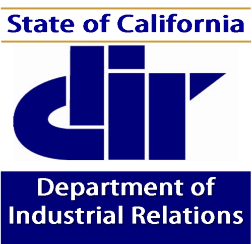 The California Department of Industrial Relations logo in navy and white.