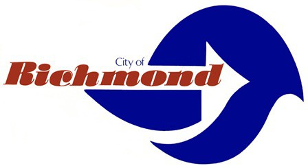 The City of Richmond logo featuring red text with a blue wave and white background.