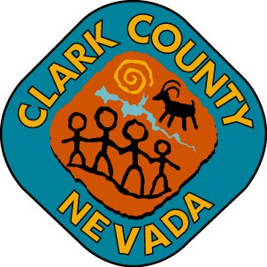 The Clark County Nevada logo in blue and brown, with yellow writing.