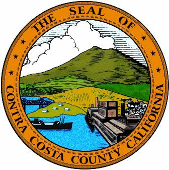 The round Contra Costa County California seal in gold.